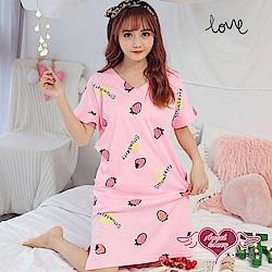 居家睡衣 甜蜜草莓 一件式短袖連身休閒服(粉F) AngelHoney天使霓裳