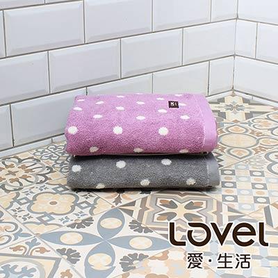 Lovel 專利咖啡紗除臭抗UV圓點浴巾2件組