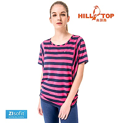 【hilltop山頂鳥】女款吸濕排汗抗UV彈性上衣S04FH2-粉紅底藍條