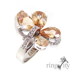 RingCity 黃鑽色花朵造型戒