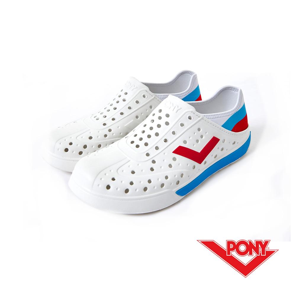 PONY ENJOY系列-輕量透氣洞洞鞋-中性-白藍俄羅斯