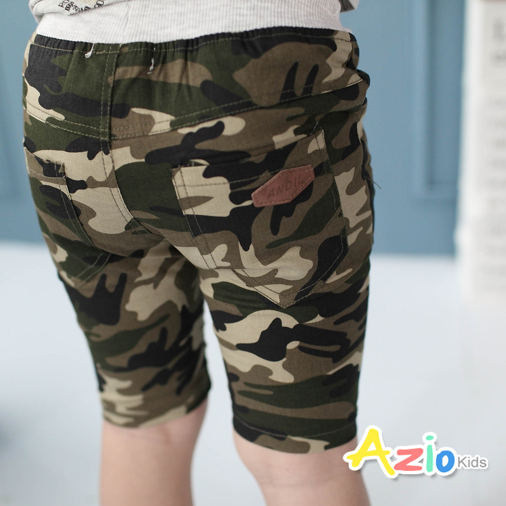 Azio Kids-短褲 帥氣迷彩後皮革口袋短褲(綠)