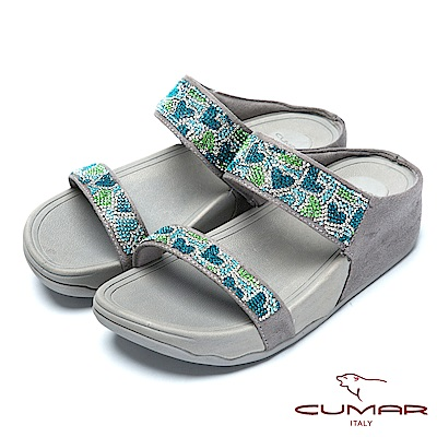 CUMAR樂活時尚愛心水鑽排列超舒適厚底涼鞋-灰色