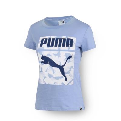 PUMA - 女性 流行系列花朵Archive Logo短袖T恤-明粉藍