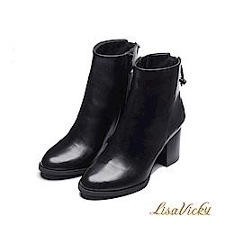 LisaVicky巴黎街頭後綁帶粗跟短靴-黑色