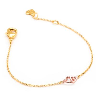 GORJANA Mini X Me 玫瑰金愛心 細緻雙墜 金色手鍊 可調式設計 小孩款