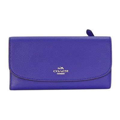 COACH紫色荔枝紋全皮銀字飾牌三摺長夾