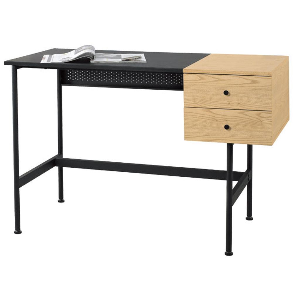 居家生活  皮里克4尺栓木本色二抽電腦桌 (寬120cm)