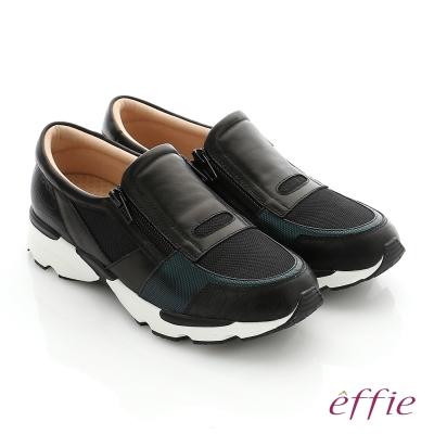 effie  輕量抗震 真皮拼接側拉鍊奈米健走運動鞋 黑色