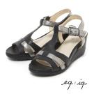 eq:iq--T字條帶楔型涼鞋-經典黑