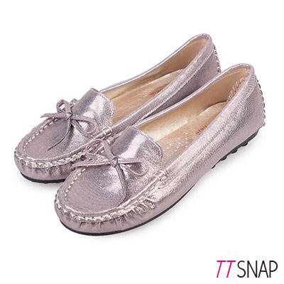 TTSNAP莫卡辛-MIT蝴蝶結金屬閃料真皮豆豆鞋 錫