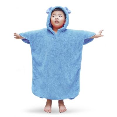 雪花絨-兒童連帽浴巾/天空藍