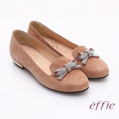 effie 輕透美型 閃耀羊皮亮鑽蝴蝶平底鞋 卡其
