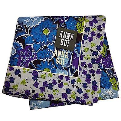 ANNA SUI 繽紛花朵圖騰字母LOGO帕領巾(紫色系)
