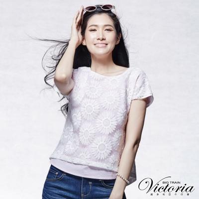 Victoria 向日葵刺繡寬鬆短袖T-女-粉白條