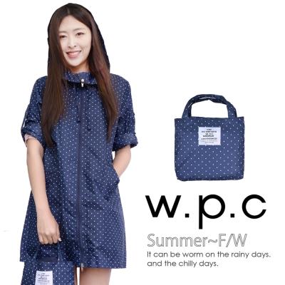 w.p.c. 2 way袖子可折。時尚雨衣/風衣(R9001)_深藍點點