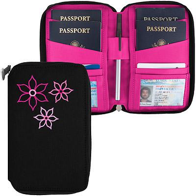 TRAVELON Bouquet繡花拉鍊防護證件護照夾(黑)