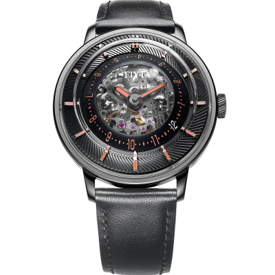 FIYTA飛亞達3D立體讀時機械錶(WGA868001.BBB)-黑色/45mm