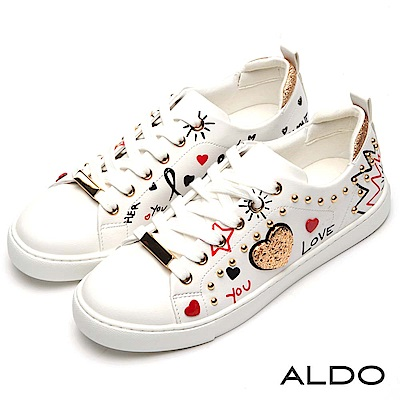 ALDO 白色塗鴉金屬鉚釘亮蔥愛心綁帶式休閒鞋~時尚白色