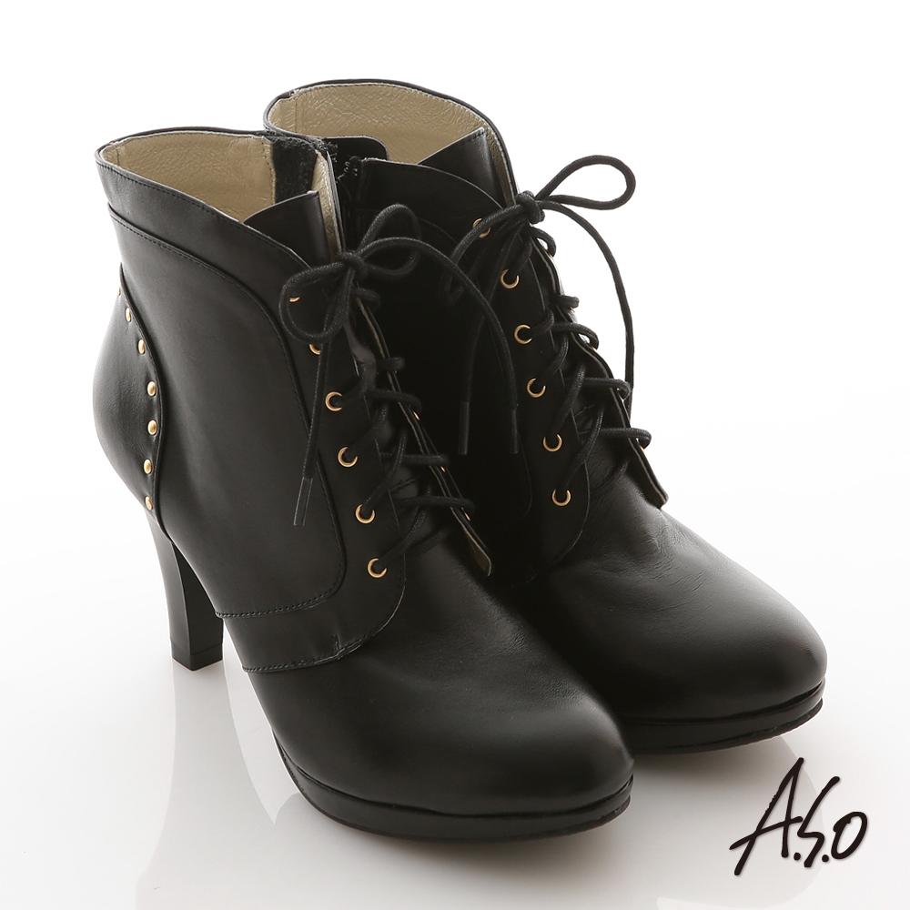 A.S.O 咖啡紗系列 全真皮綁帶鉚釘高跟短靴 黑