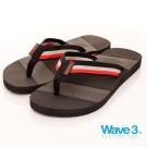 【WAVE3男款】獨家雙色織帶設計素色人字拖-黑(17101101)