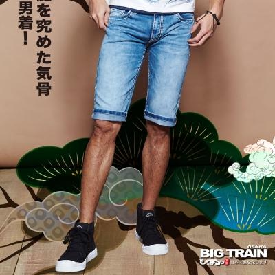 BIG TRAIN 日式家徽丹寧短褲-男-淺藍