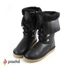 Paidal波西米亞風流蘇假綁帶顯瘦中筒雪靴-黑