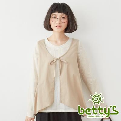 betty's貝蒂思 假兩件式拼接雪紡直條紋棉麻襯衫(卡其)