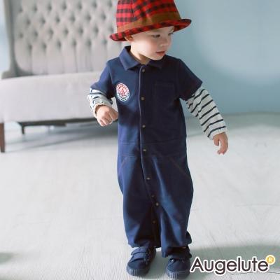 baby童衣 連身衣 假兩件仿牛仔全開扣兩用爬服47121