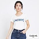 SOMETHING 牛仔紋LOGO印花U領短T恤-女-白色