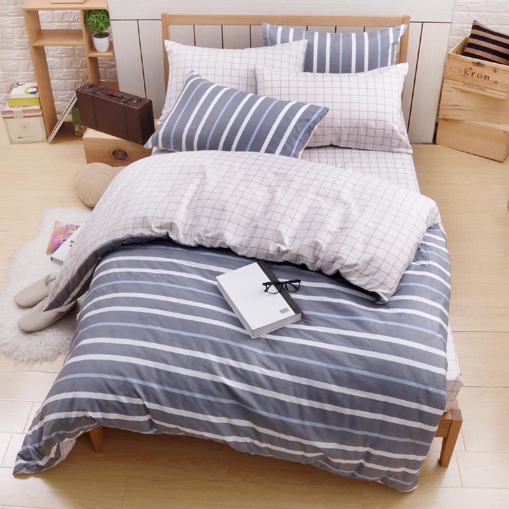 日本濱川佐櫻-卡洛時光 台灣製雙人四件式精梳棉兩用被床包組