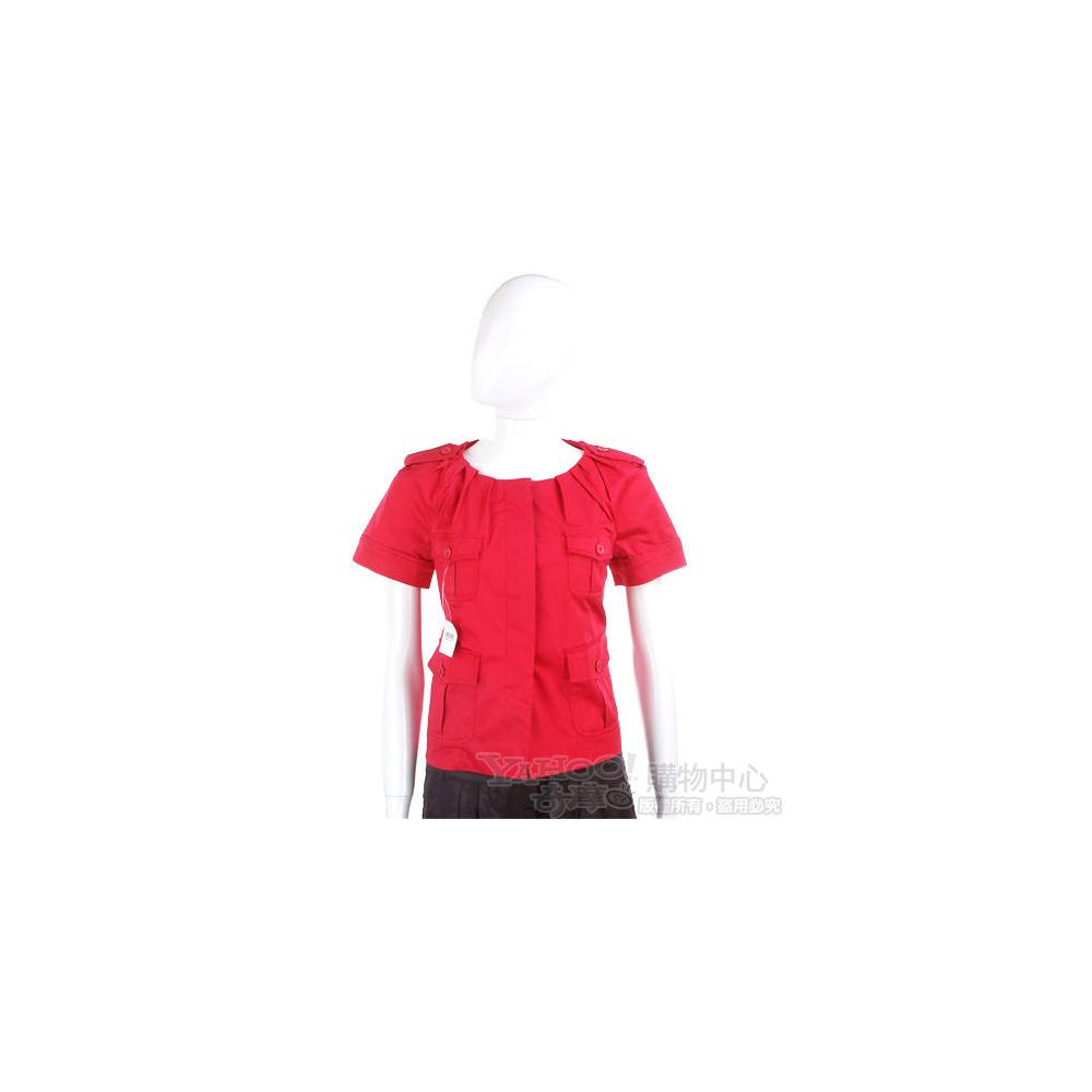 MOSCHINO 紅色抓摺設計短袖小外套