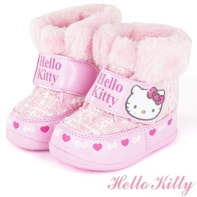 HelloKitty 小香風溫暖毛絨防臭雪靴童鞋-粉(中小童)