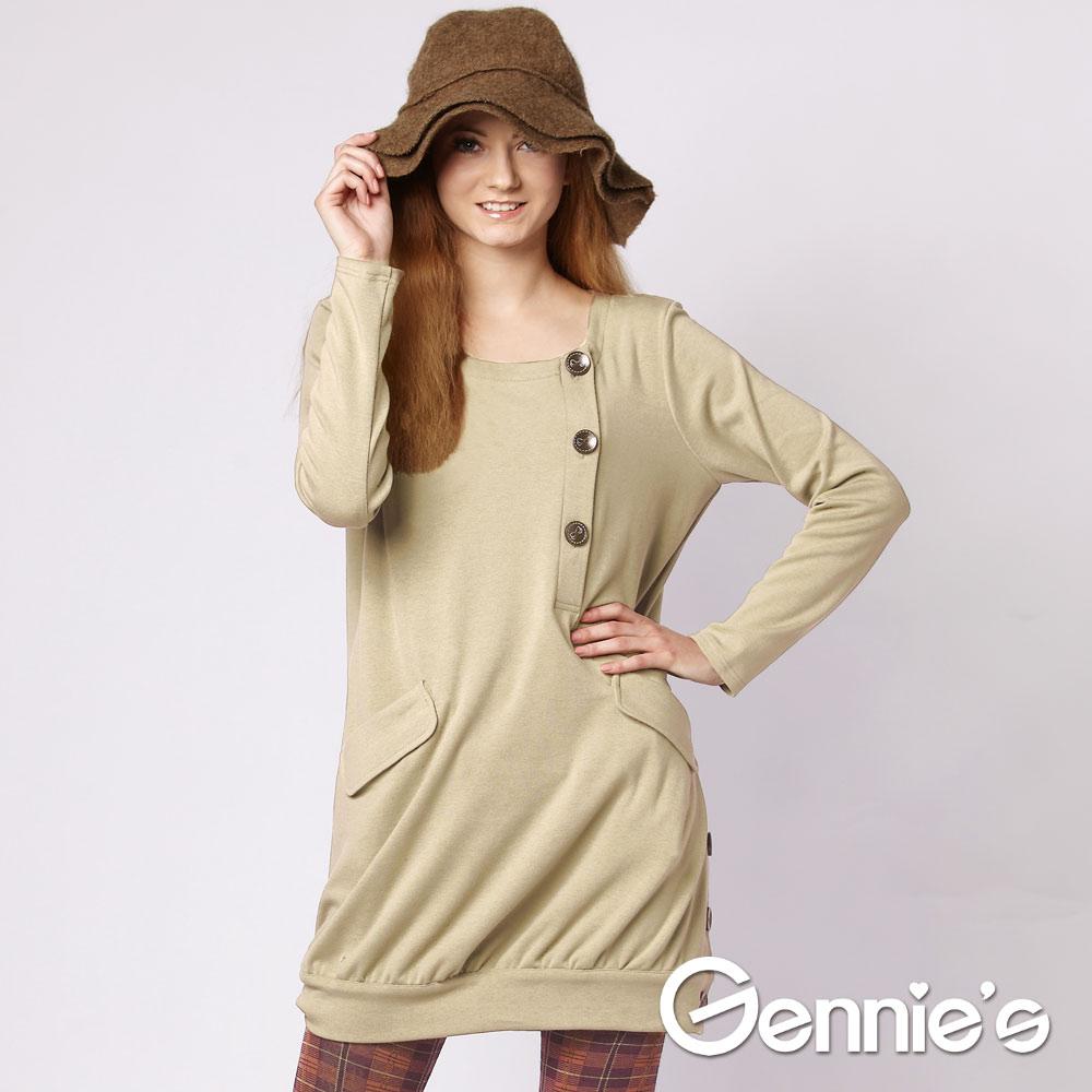 Gennie's奇妮 甜美名媛系秋冬哺乳長版上衣 (GN027)