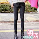 正韓 素面微彈貼腿窄管牛仔褲 (黑色)-100%明洞