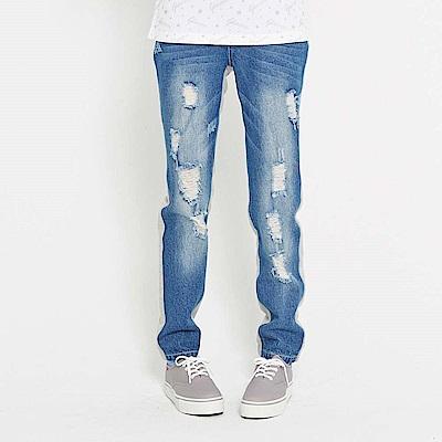 【TOP GIRL】刷破設計拼接牛仔長褲-中藍