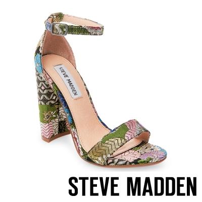 STEVE MADDEN-CARRSON 一字踝帶粗高跟涼鞋-花草綠