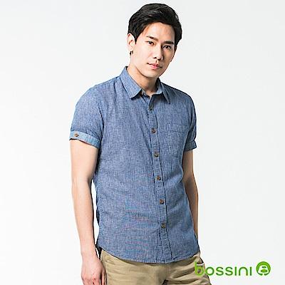 bossini男裝-休閒棉麻短袖襯衫04靛色
