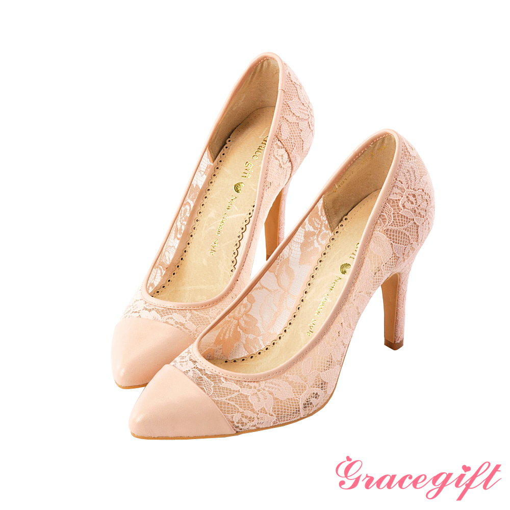 Grace gift浪漫花嫁–鏤空蕾絲拼接尖頭高跟鞋 粉