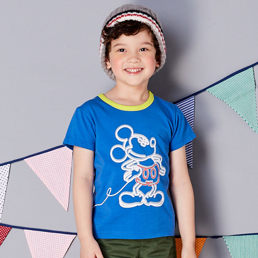Disney 米奇系列燈泡T恤  深藍