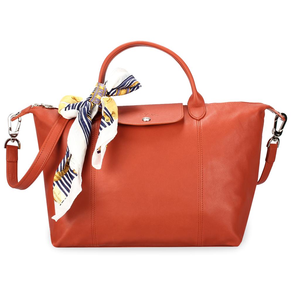 Longchamp Le Pliage Cuir小羊皮短把折疊中型水餃包-磚紅色(贈帕巾)