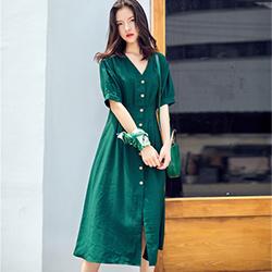 性感V領單排釦設寬鬆洋裝 (綠色)-Kugi Girl