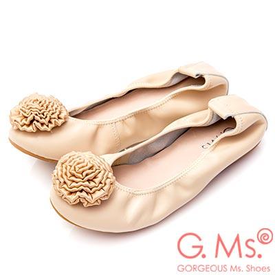 G.Ms. 手工芍藥緞花牛皮彎折娃娃鞋-杏色