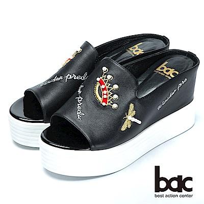 bac時尚休閒珍珠皇冠厚底拖涼鞋-黑