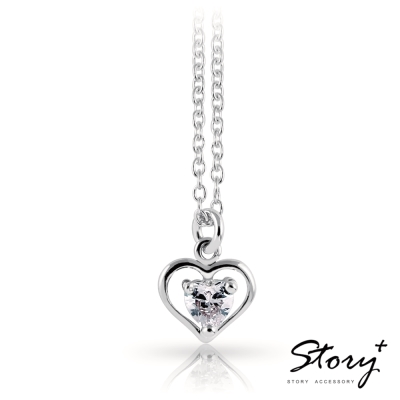 STORY故事銀飾-清晰的心-純銀項鍊(白K金+白鑽)