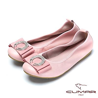 CUMAR舒適真皮-圓形水鑽裝飾真皮莫卡辛鞋-粉紅色