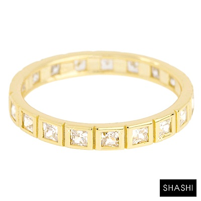 SHASHI 紐約品牌 Carrie 整圈式方鑽戒指 925純銀鑲18K金
