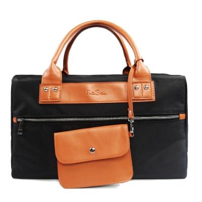 韓式作風-時尚銀色拉鍊皮革拼接手提包-黑色