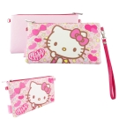Sanrio三麗鷗皮革彩繪橫式手機袋 萬用包-Kitty豹紋