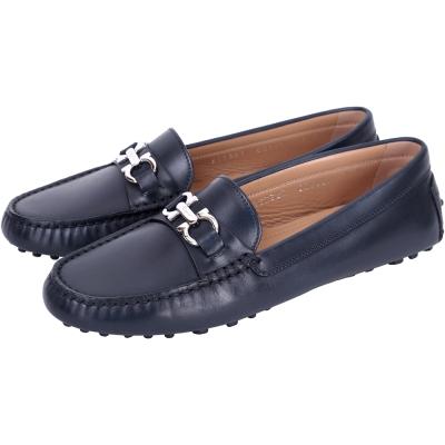Salvatore Ferragamo  SABA牛皮金屬馬蹄環飾休閒鞋(深藍色)